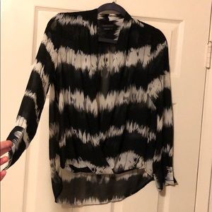 BCBG Black & White Sheer Blouse